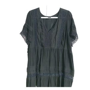 Lace trim short sleeve dress blouse.